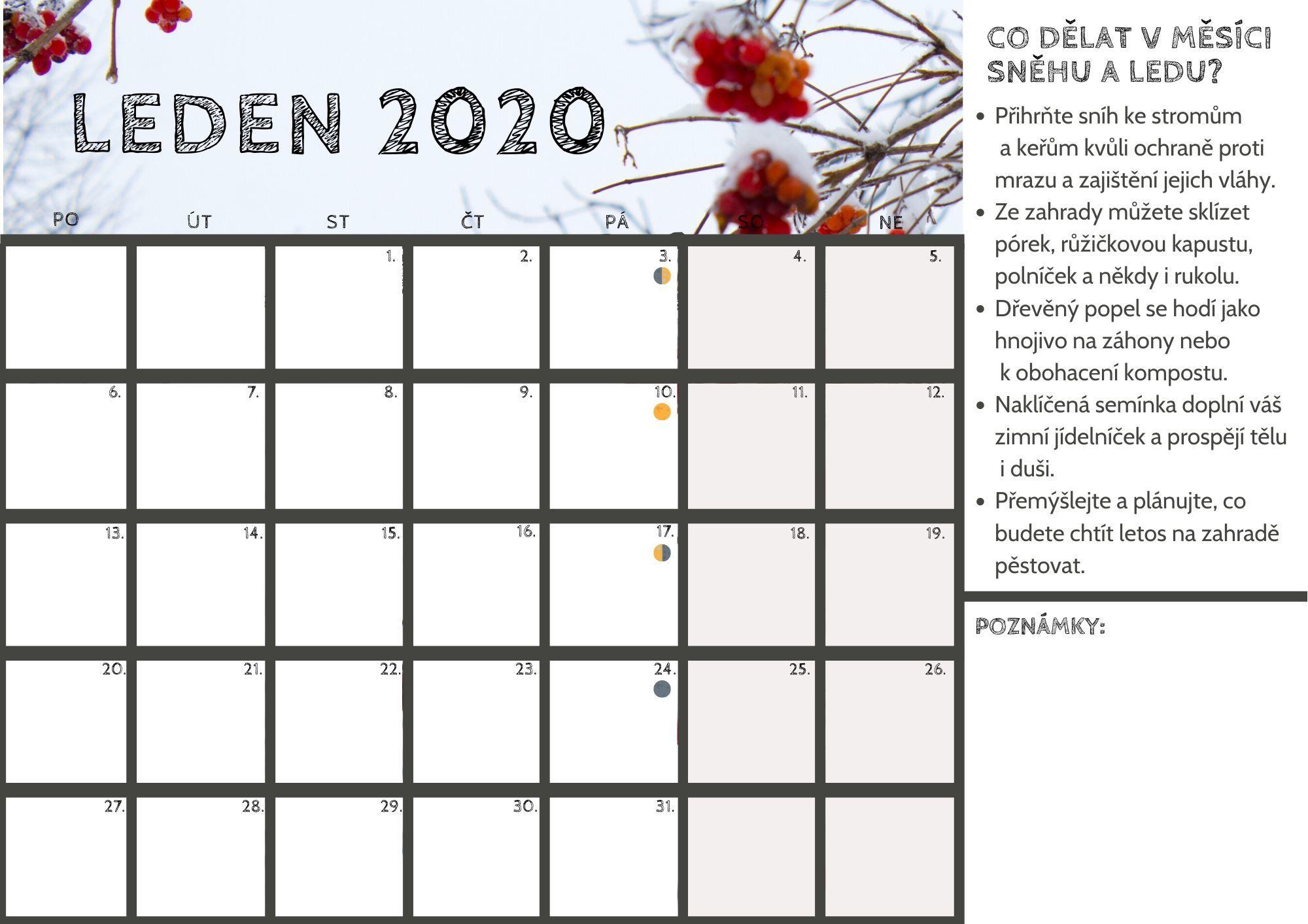kalendář pro leden 2020