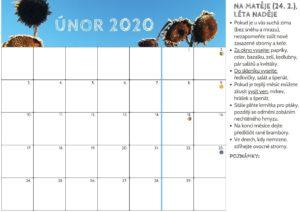 kalendář ktisku naúnor 2020 spoznámkami, naco nezapomenout